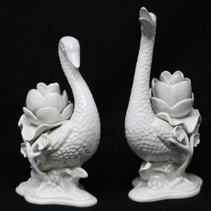 Fitz & Floyd Candle Holder White Swan's
